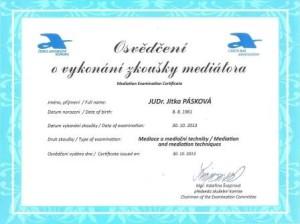 Osvědčení o vykonání zkoušky mediátora